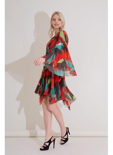 GIZIA Karışık Renkli V Yaka Piliseli Mini Şifon Elbise Oranj